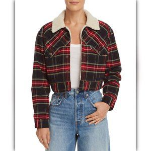 Levi's Red Plaid Corduroy Cropped Trucker Jacket